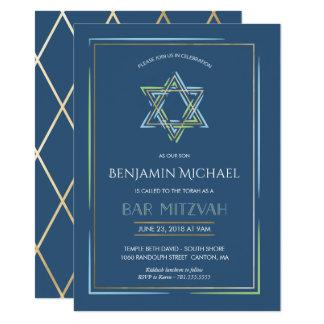 Invitation de Mitzvah de barre - étoile de David