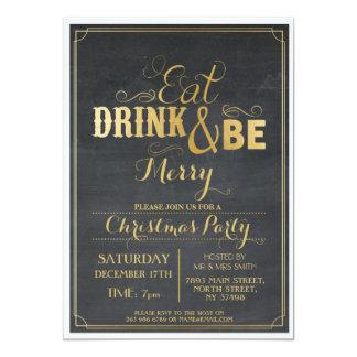 Invitation de Noël de neige d'or de noir de dîner