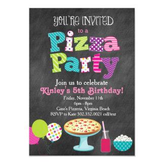 Invitation de partie de pizza de tableau (fille)