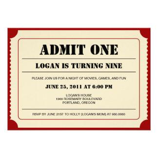 Invitation de partie de souche de billet