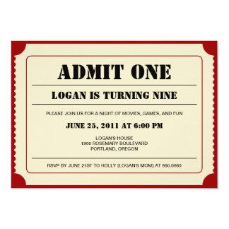 Invitation de partie de souche de billet carton d'invitation  12,7 cm x 17,78 cm