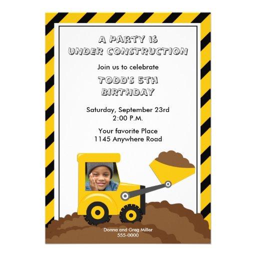 Invitation de photo d'anniversaire de construction