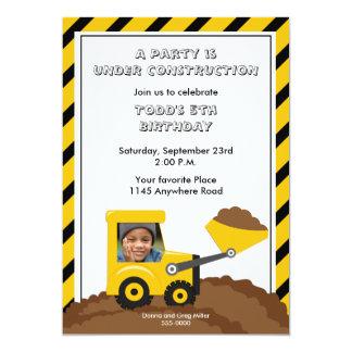 Invitation de photo d'anniversaire de construction carton d'invitation  12,7 cm x 17,78 cm
