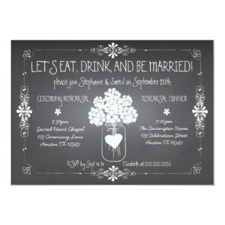 Invitation de pot de maçon de répétition de carton d'invitation  12,7 cm x 17,78 cm