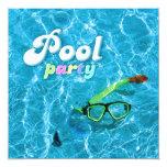 Invitation de réception au bord de la piscine carton d'invitation  13,33 cm