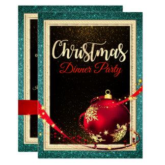 Invitation d'or turquoise noire de dîner de Noël