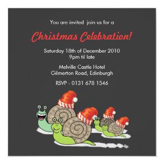Invitation drôle de fête de Noël d'escargots