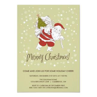 Invitation du père noël et de fête de vacances de carton d'invitation  12,7 cm x 17,78 cm
