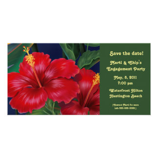 Invitation et carte photo tropicaux de ketmie de cartes avec photo