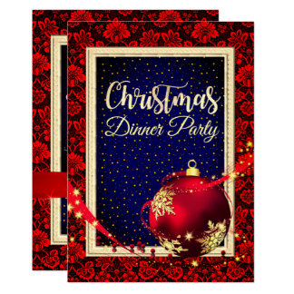Invitation étoilé de dîner de Noël de damassé