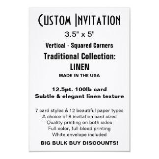 "Invitation faite sur commande 3,5"" x 5"" TOILE Carton D'invitation 8,89 Cm X 12,70 Cm"
