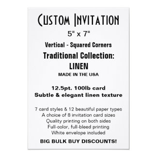 "Invitation faite sur commande 5"" x 7"" TOILE Carton D'invitation 12,7 Cm X 17,78 Cm"