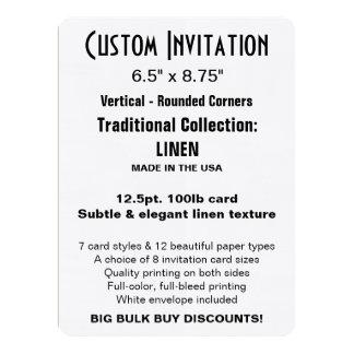 "Invitation faite sur commande 6,5"" x 8,75"" TOILE Carton D'invitation 16,51 Cm X 22,22 Cm"