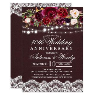 Invitation florale d'anniversaire de mariage