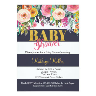 Invitation florale de baby shower de marine et