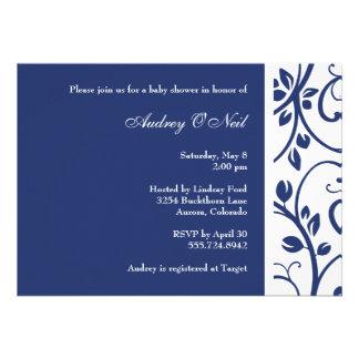 Invitation florale de baby shower de vigne de bleu