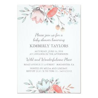 Invitation florale de cru de baby shower