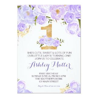Invitation florale de première aquarelle pourpre