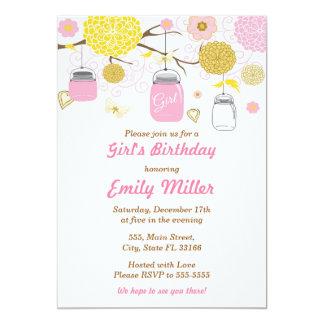 Invitation florale rose d'anniversaire de filles