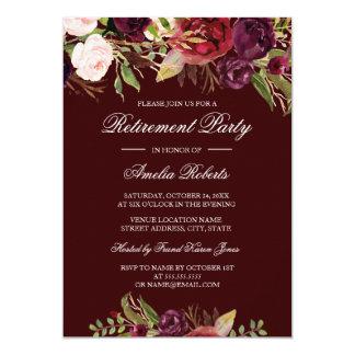 Invitation florale rouge de partie de retraite de