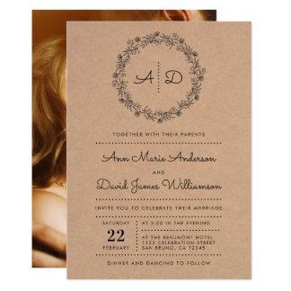 Invitation florale rustique de photo de mariage de