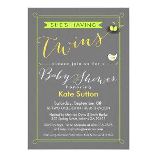 Invitation jumelle de baby shower carton d'invitation  12,7 cm x 17,78 cm
