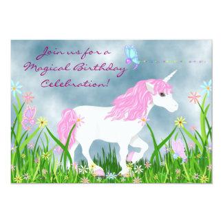 Invitation magique d'anniversaire de licorne rose
