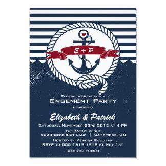 Invitation nautique rustique de partie de