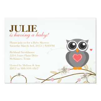 Invitation neutre de baby shower de hibou de genre