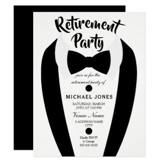 Invitation noir de partie de retraite de cravate