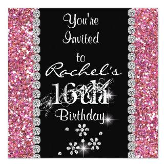 Invitation ROSE BLING de fête d'anniversaire du