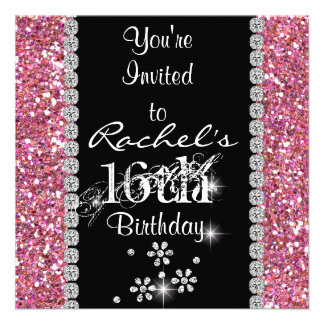 Invitation ROSE BLING de fête d'anniversaire du BO