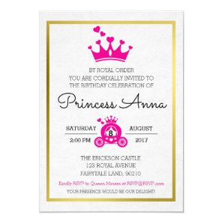 Invitation rose chic de princesse Birthday
