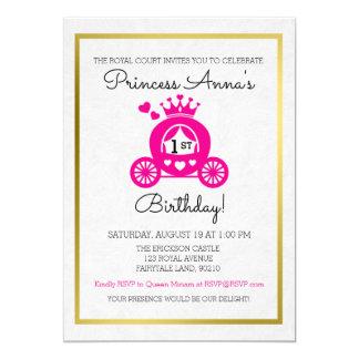 Invitation rose chic de princesse First Birthday