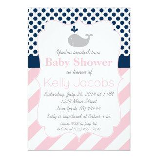 Invitation rose de baby shower de baleine