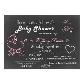 Invitation rose de baby shower de tableau