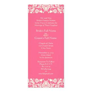 Invitation rose de mariage damassé
