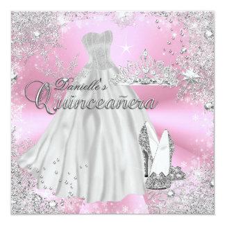 Invitation rose de Quinceanera de flocon de neige