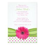 Invitation rose et verte de baby shower de pois carton d'invitation  12,7 cm x 17,78 cm