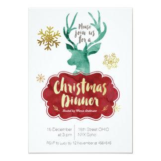 Invitation rouge de dîner de Noël de renne