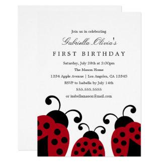 Invitation rouge de fête d'anniversaire des