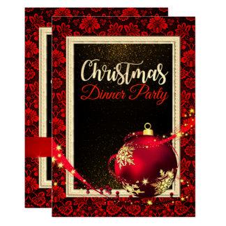 Invitation rouge fascinant de dîner de Noël de