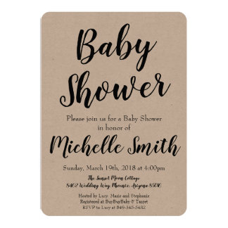 Invitation rustique de baby shower de Papier