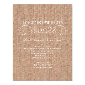 Invitation rustique de réception d'impression de