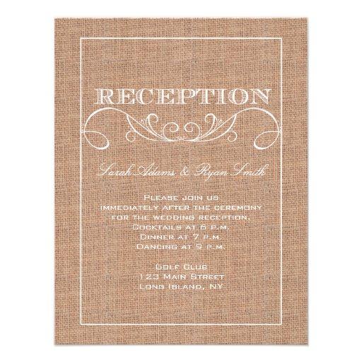 Invitation rustique de réception d'impression de t