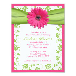 Invitation verte rose de baby shower de marguerite carton d'invitation 10,79 cm x 13,97 cm