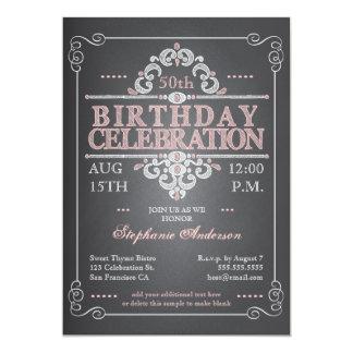 Invitation vintage d'anniversaire de tableau carton d'invitation  12,7 cm x 17,78 cm