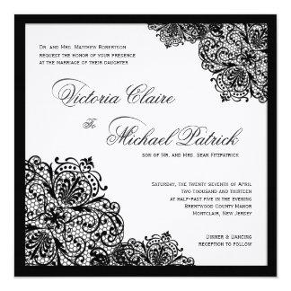 Invitations blanches de mariage de carré de toile
