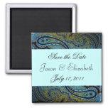 Invitations bleues turquoises de mariage de paon d aimant pour réfrigérateur
