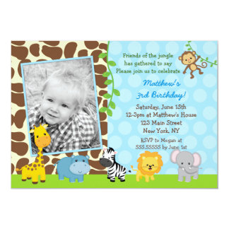 Invitations d'anniversaire de photo d'animaux de